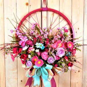 Front door bicycle tire wreath